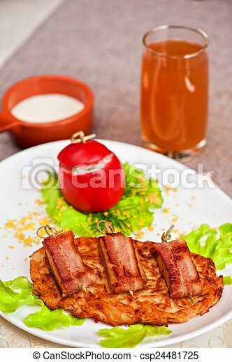 veal meat with bacon - csp24481725