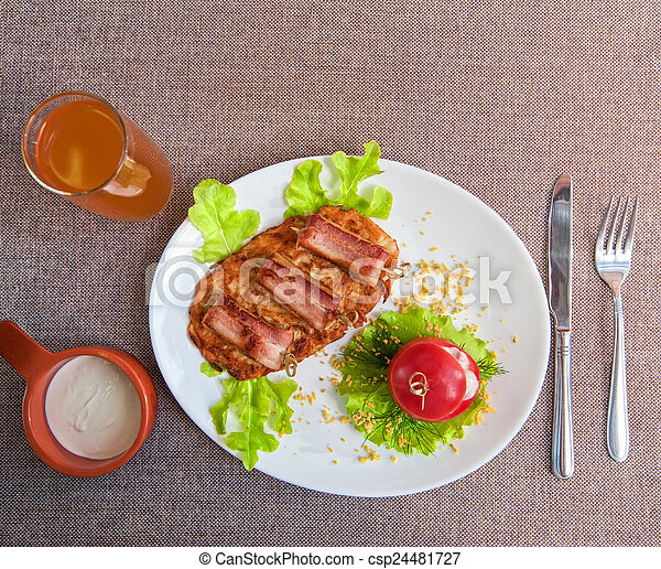 veal meat with bacon - csp24481727