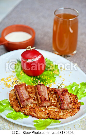 veal meat with bacon - csp23139898
