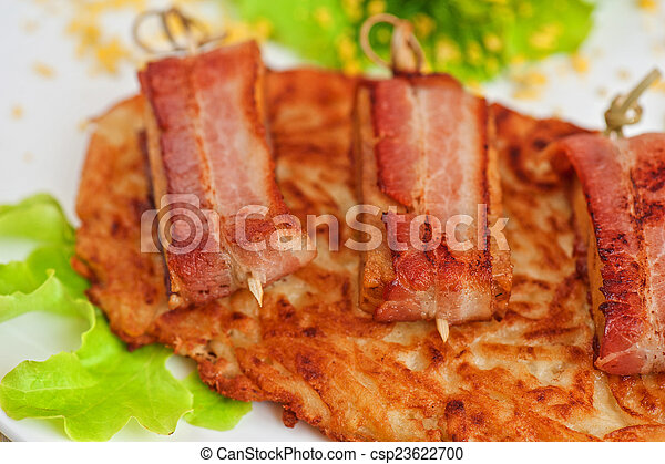 veal meat with bacon - csp23622700