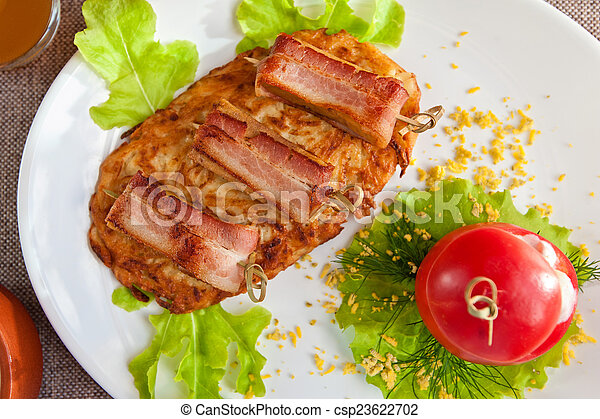 veal meat with bacon - csp23622702