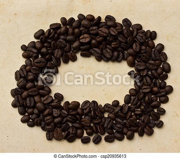 vecchio, caffè, carta, fagioli - csp20935613