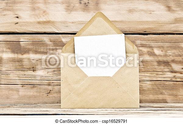 vecchio, cartolina, busta, legno, fondo, vuoto - csp16529791