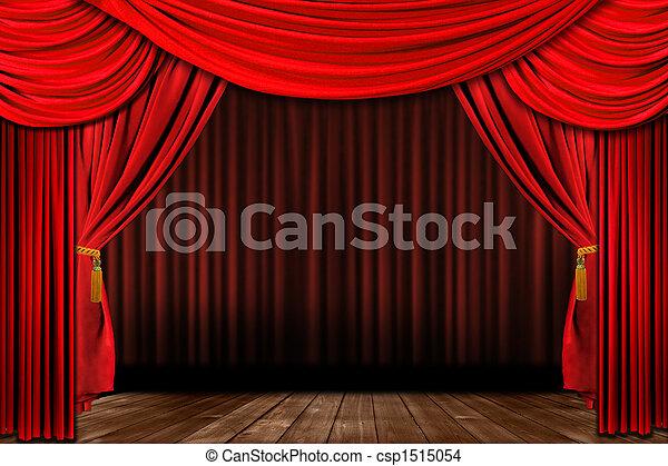 vecchio, elegante, drammatico, foggiato, teatro, rosso, palcoscenico - csp1515054