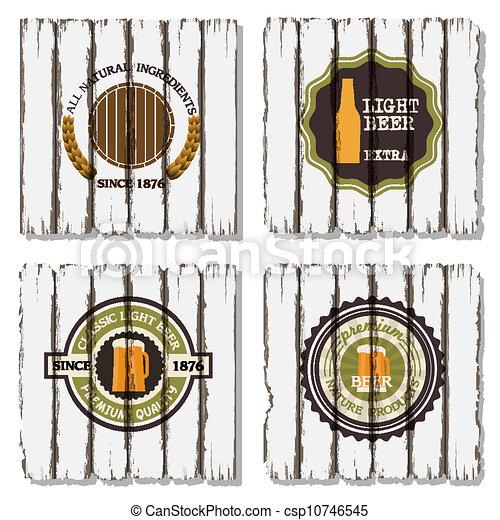 vecchio, etichette, quattro, birra, legno, fondo - csp10746545