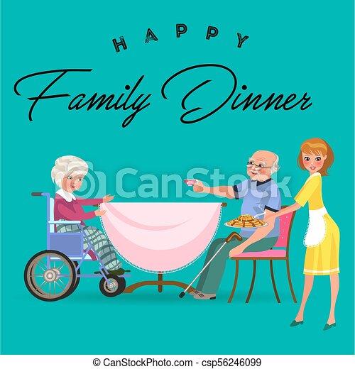 vecchio, famiglia, persone, invalido, insieme, ragazza, volerci, cenando, trattare, casa, donna felice, mangiare, seduta, cibo, illustrazione, nonna, mamma, mangiare, cura, carrozzella, nonno, cena, vettore, tavola - csp56246099
