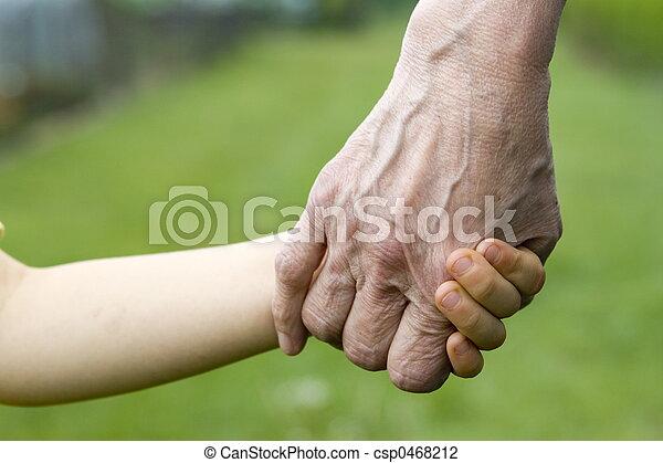 vecchio, giovane, mani - csp0468212
