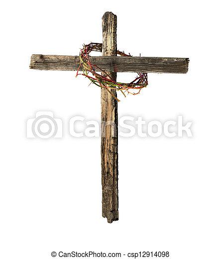 vecchio, legno, corona, croce, sanguinante, spine - csp12914098