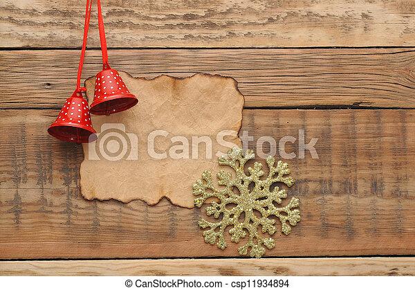 vecchio, legno, decorazione, parete, carta, vuoto, natale - csp11934894