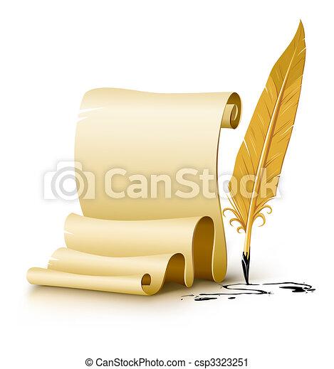 vecchio, manoscritto, vuoto, penna, carta, inchiostro, penna - csp3323251