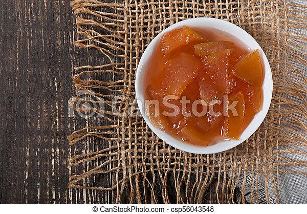 vecchio, mela, cibo, dolce, -, fondo., marmellata, delizioso, legno - csp56043548