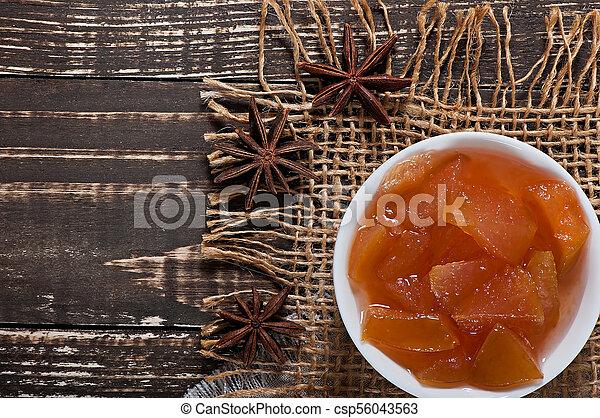 vecchio, mela, cibo, dolce, -, fondo., marmellata, delizioso, legno - csp56043563