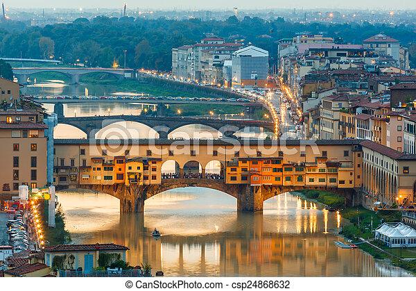 vecchio, mosty, rzeka arno, ponte - csp24868632