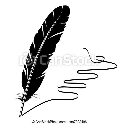 vecchio, scrittura, vettore, monocromatico, penna, fiorire - csp7292496