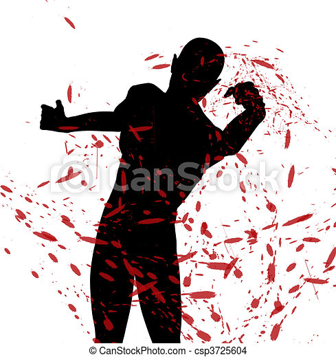 vecht, silhouette - csp3725604