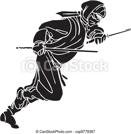 vechter, illustration., -, vector, vinyl-ready., ninja - csp9779387