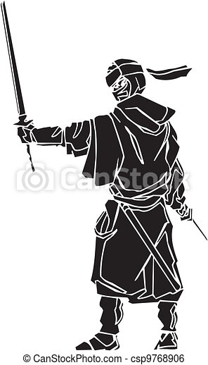 vechter, illustration., -, vector, vinyl-ready., ninja - csp9768906