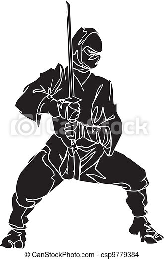vechter, illustration., -, vector, vinyl-ready., ninja - csp9779384