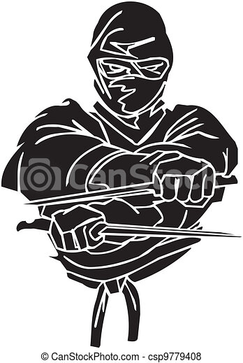vechter, illustration., -, vector, vinyl-ready., ninja - csp9779408