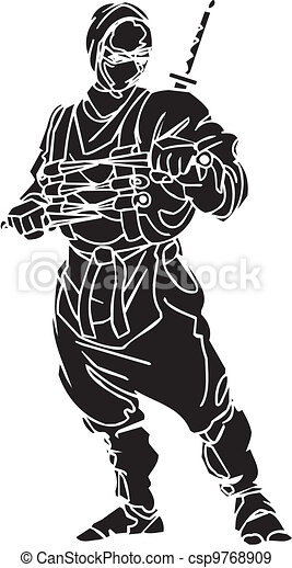 vechter, illustration., -, vector, vinyl-ready., ninja - csp9768909