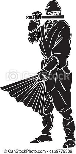 vechter, illustration., -, vector, vinyl-ready., ninja - csp9779389