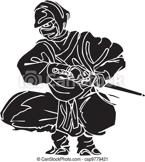 vechter, illustration., -, vector, vinyl-ready., ninja - csp9779421