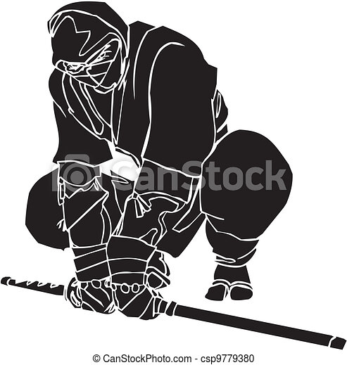 vechter, illustration., -, vector, vinyl-ready., ninja - csp9779380