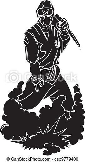 vechter, illustration., -, vector, vinyl-ready., ninja - csp9779400