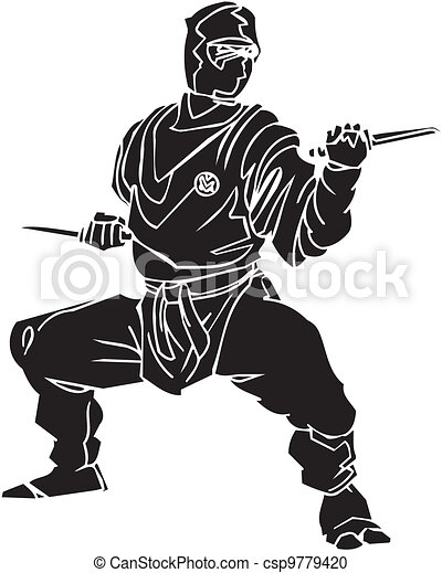 vechter, illustration., -, vector, vinyl-ready., ninja - csp9779420