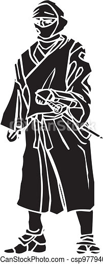 vechter, illustration., -, vector, vinyl-ready., ninja - csp9779407