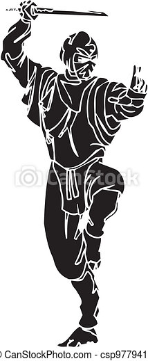 vechter, illustration., -, vector, vinyl-ready., ninja - csp9779416