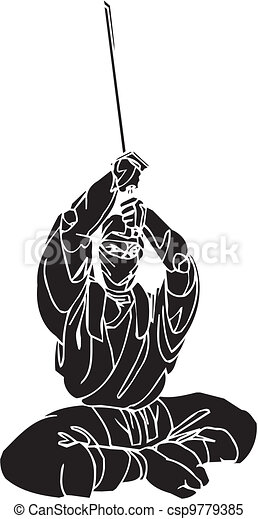 vechter, illustration., -, vector, vinyl-ready., ninja - csp9779385