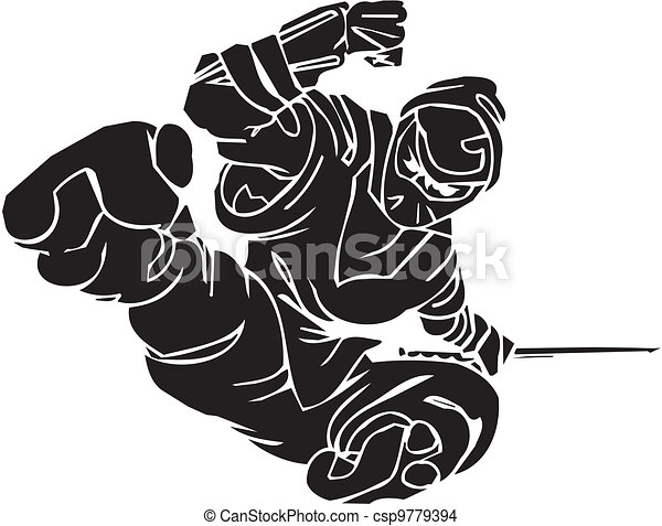 vechter, illustration., -, vector, vinyl-ready., ninja - csp9779394