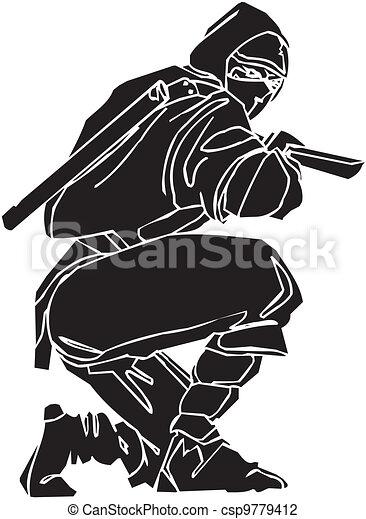 vechter, illustration., -, vector, vinyl-ready., ninja - csp9779412