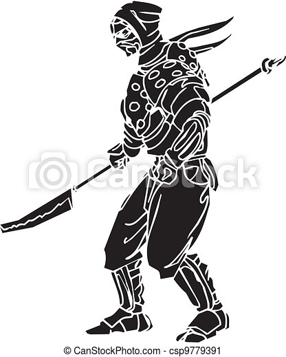 vechter, illustration., -, vector, vinyl-ready., ninja - csp9779391