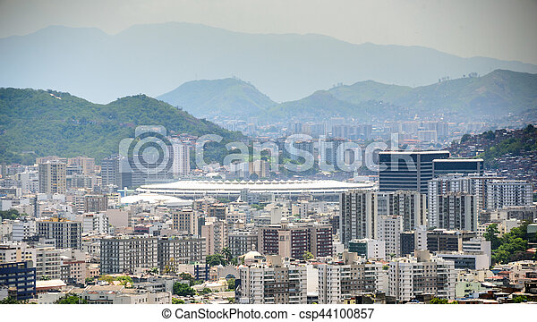 vecindades, fútbol, tijuca, bosque, estadio, parque, cristovao, maracana, vista, sao, nacional, aéreo - csp44100857