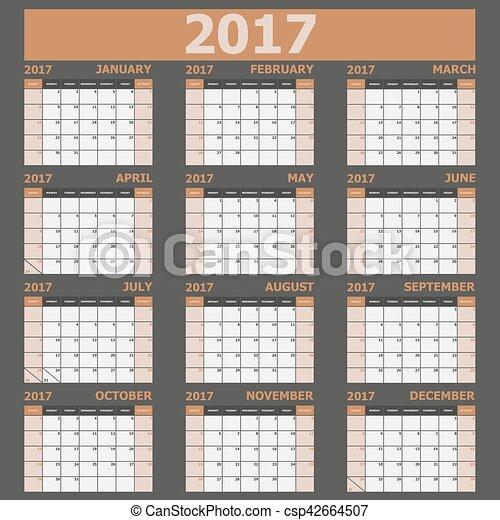 vecka, 2017, startar, tone), söndag, (brown, kalender - csp42664507