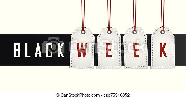 vecka, befordran, etikett, svart, hängande - csp75310852