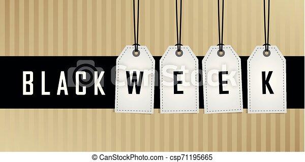 vecka, befordran, hängande, svart, etikett - csp71195665