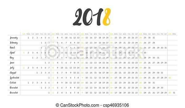 vecka, enkel, startar, söndag, 2018., kalender - csp46935106