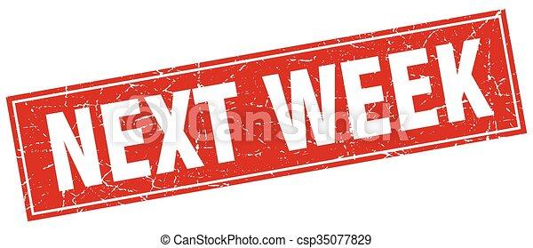 vecka, fyrkant, grunge, stämpel, nästa, vit röd - csp35077829
