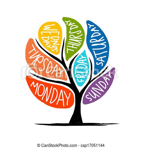 vecka, konst, 7petal, träd, dagar, design - csp17051144