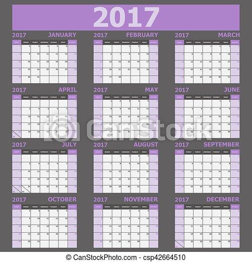 vecka, (purple, startar, tone), söndag, kalender, 2017 - csp42664510
