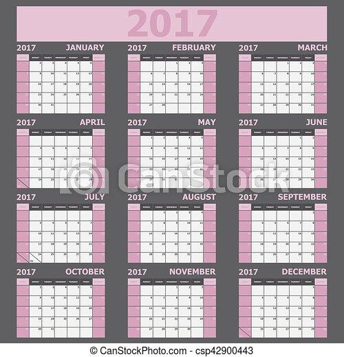 vecka, rosa, startar, tone), söndag, (light, kalender, 2017 - csp42900443