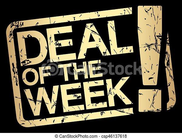 vecka, stämpel, furu, guld, text - csp46137618