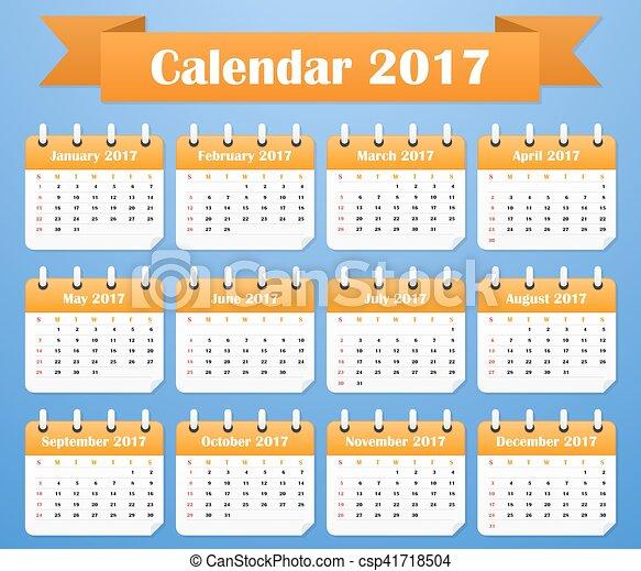 vecka, startar, amerikan, 2017., söndag, kalender - csp41718504