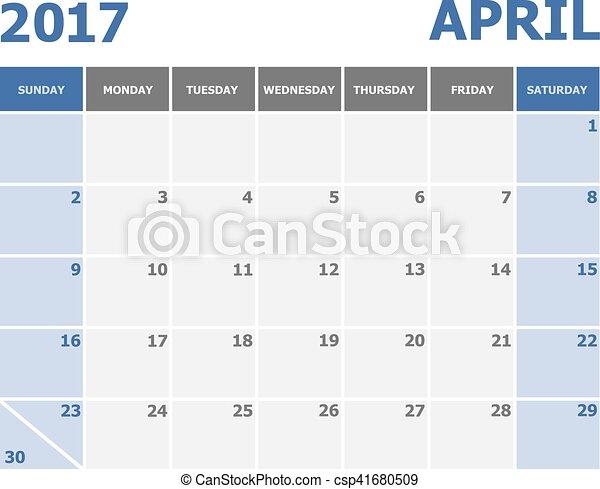 vecka, startar, april, söndag, 2017, kalender - csp41680509