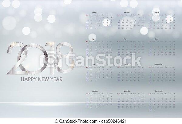 vecka, startar, illustration, vektor, sunday., 2018., kalender - csp50246421