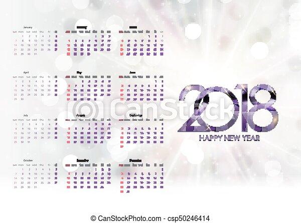 vecka, startar, illustration, vektor, sunday., 2018., kalender - csp50246414