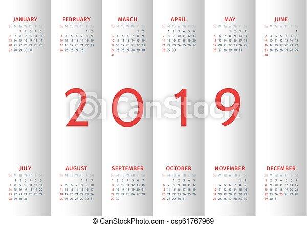 vecka, startar, söndag, 2019., kalender - csp61767969